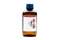 Botella química de cristal de Brown Fotos de archivo libres de regalías