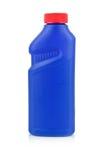 Botella química plástica aislada en blanco Foto de archivo