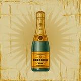 Botella retra de Champ Foto de archivo libre de regalías