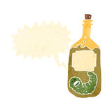 botella retra del tequila de la historieta con el gusano ilustración del vector