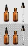 Botella transparente de cristal de Brown Casquillo del oro con el dropper ilustración del vector