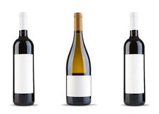 Botella tres de vino Fotos de archivo libres de regalías