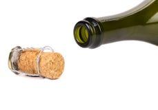 Botella vacía del cuello de champán Imagen de archivo libre de regalías