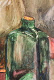 Botella verde Imagen de archivo libre de regalías