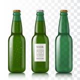 Botella verde con gotas del agua stock de ilustración