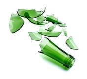 Botella verde quebrada foto de archivo