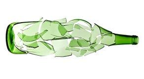 Botella verde quebrada imágenes de archivo libres de regalías