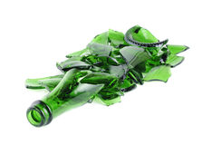 Botella verde rota del champán Fotos de archivo