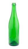 Botella verde vacía del champán Fotos de archivo
