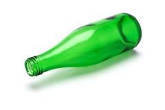 Botella verde vacía Fotografía de archivo libre de regalías