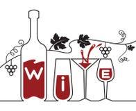 Botella, vidrios y uvas Foto de archivo