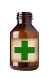Botella vieja de la droga, aislada, camino de recortes. Imagen de archivo