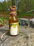 Botella vieja y envejecida de la medicina en el bosque Fotos de archivo