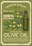 Botella virginal adicional del aceite de oliva de la calidad superior libre illustration