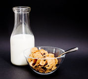 Botella y cereal viejos de leche Imágenes de archivo libres de regalías
