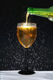 Botella y copa con la condensación Fotografía de archivo libre de regalías