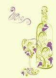 Botella y copa de vino estilizadas de vino Imágenes de archivo libres de regalías