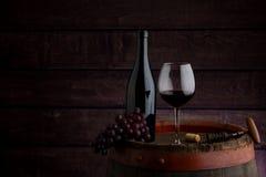 Botella y copa de vino de vino rojo fotografía de archivo