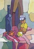 Botella y florero Imagen de archivo libre de regalías
