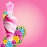 Botella y flores de perfume Imágenes de archivo libres de regalías
