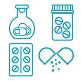 Botella y píldoras de la medicina Frasco con las píldoras, icono médico azul Ilustración del vector ilustración del vector