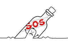 Botella y S.O.S Fotografía de archivo libre de regalías