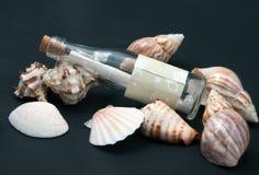 Botella y seashells imágenes de archivo libres de regalías