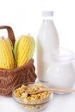 Botella y tarro de leche con maíz y escamas Foto de archivo