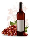 Botella y uva de vino Fotos de archivo