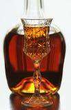 Botella y vidrio Imágenes de archivo libres de regalías