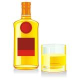 Botella y vidrio aislados de whisky Foto de archivo libre de regalías