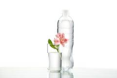 Botella y vidrio con agua en el fondo blanco Imagen de archivo libre de regalías