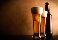 Botella y vidrio con la cerveza foto de archivo libre de regalías