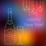 Botella y vidrio de champán en fondo borroso Foto de archivo