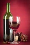 Botella y vidrio de vino Imagen de archivo libre de regalías