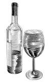 Botella y vidrio de vino del grabar en madera del vintage Fotos de archivo