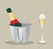 Botella y vidrio de vino del vector Fotos de archivo