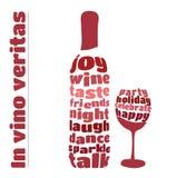 Botella y vidrio de vino en estilo de la tipografía Fotos de archivo libres de regalías