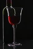 Botella y vidrio de vino rojo Fotos de archivo