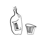 Botella y vidrio de whisky estilizados Fotografía de archivo libre de regalías