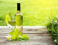 Botella y vidrio del vino blanco en la tabla de madera Imágenes de archivo libres de regalías