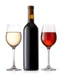 Botella y vidrios de vino Fotos de archivo