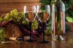 Botella y vidrios de vino blanco Imagen de archivo libre de regalías