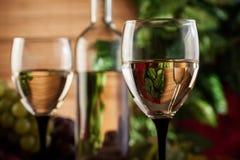 Botella y vidrios de vino blanco Foto de archivo libre de regalías