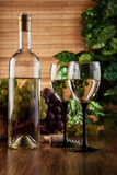 Botella y vidrios de vino blanco Fotografía de archivo
