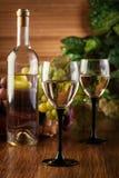 Botella y vidrios de vino blanco Fotos de archivo