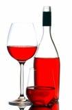 Botella y vidrios de vino rojo Foto de archivo libre de regalías