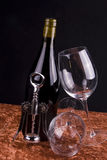 Botella y vidrios de vino rojo Imagen de archivo