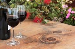Botella y vidrios de vino rojo en el vector al aire libre imagen de archivo libre de regalías