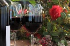 Botella y vidrios de vino rojo en el vector al aire libre Fotografía de archivo